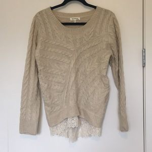 Cream cable knit sweater with lace trim